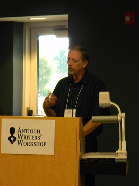 Giving my keynote speech at the Antioch Writers Workshop weekend session, 2011.
